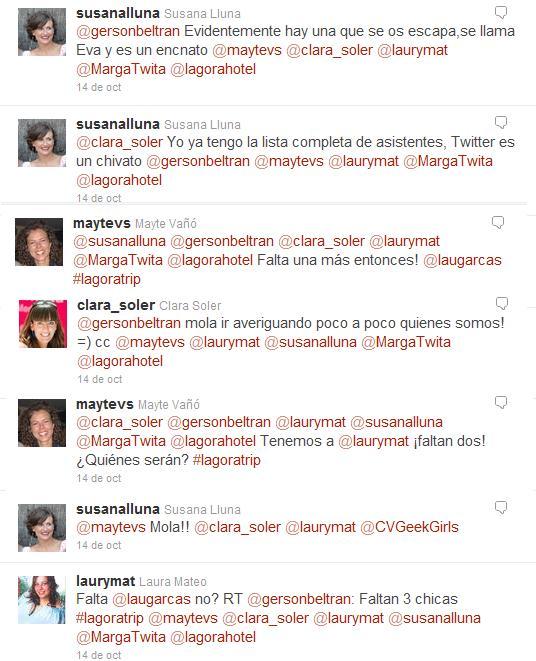 Conversación en Twitter #lagoratrip L'Agora Hotel Bocairent