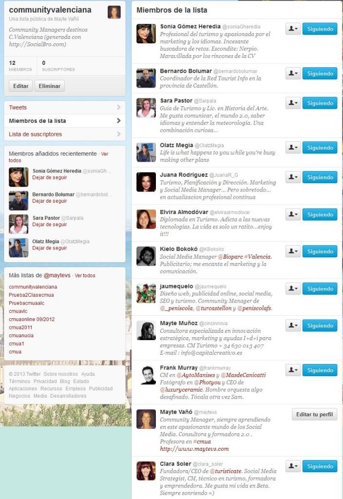 Lista #communityvalenciana en Twitter