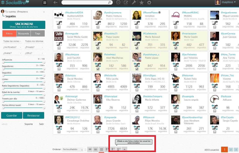 Lista en bloque con SocialBro