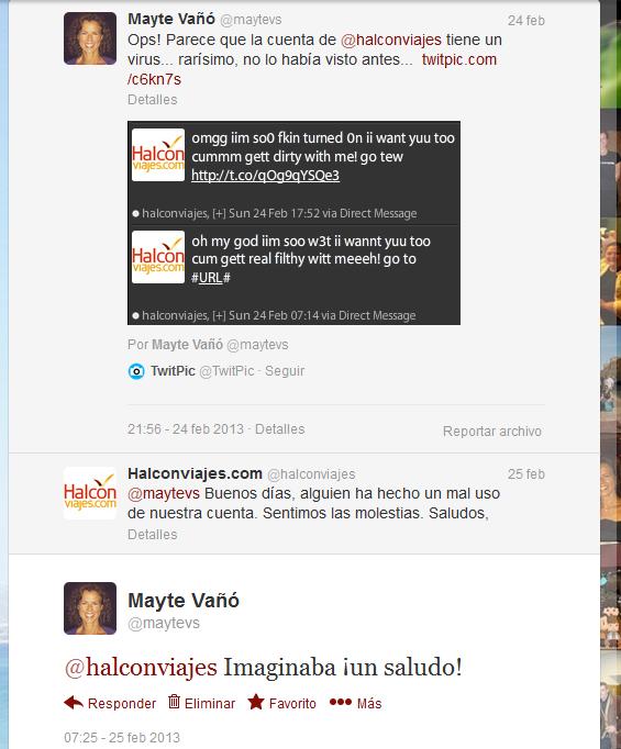 Conversación @halconviajes @maytevs