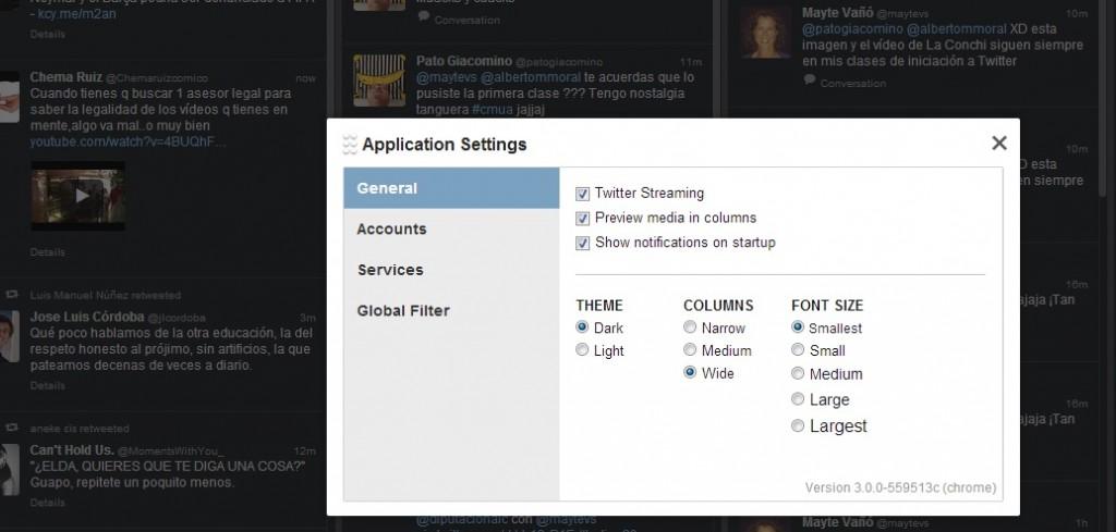 personalizar TweetDeck