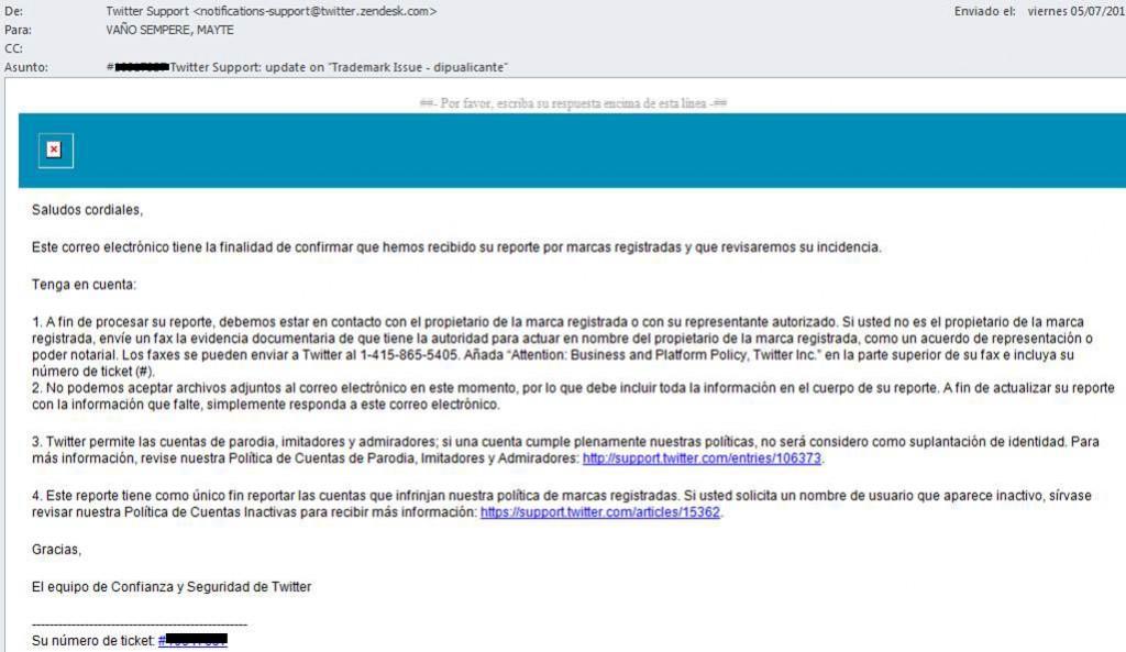 Respuesta 1 Twitter reclamacion nombre usuario @diputalicante