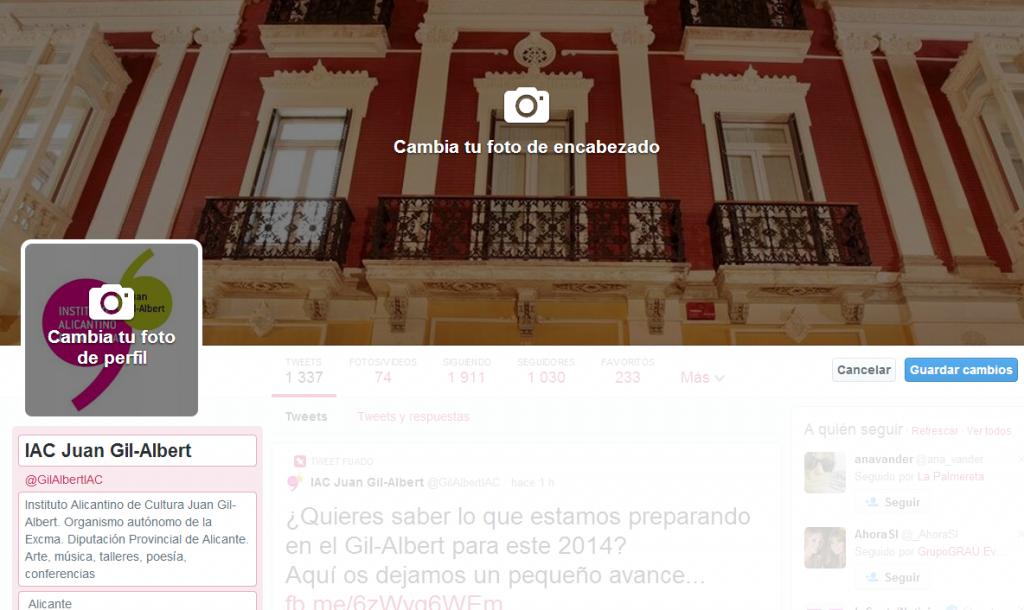 modificar perfile portada nuevo twitter @gilalbertiac