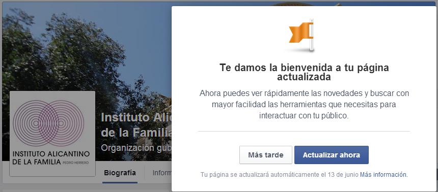 Próxima actualización página Facebook IAF