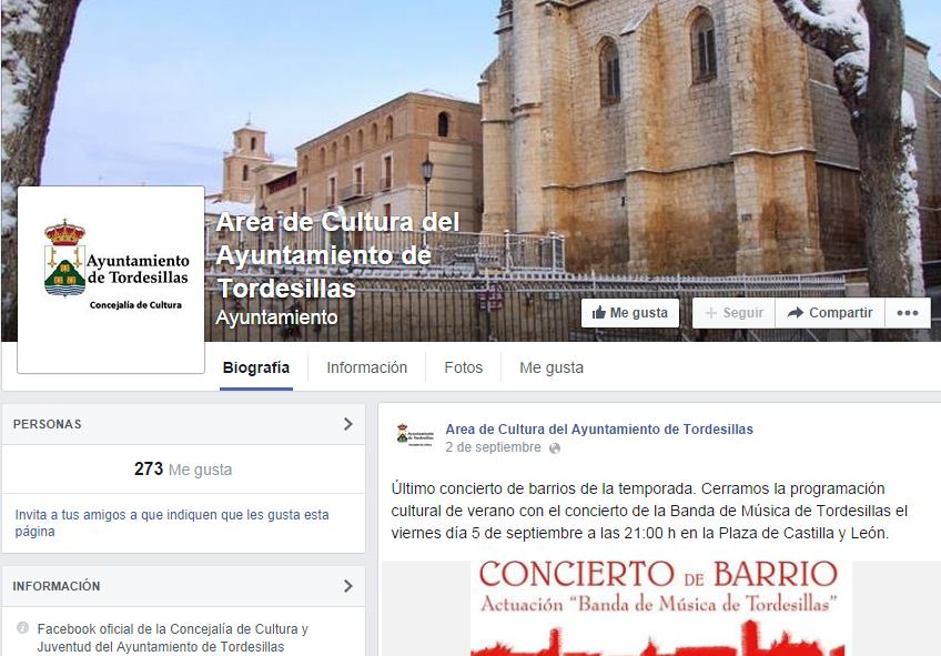 Facebook Ayuntamiento Tordesillas Cultura