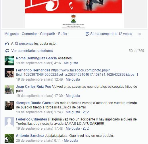 Comentarios Facebook Cultura Ayutamiento Tordesillas