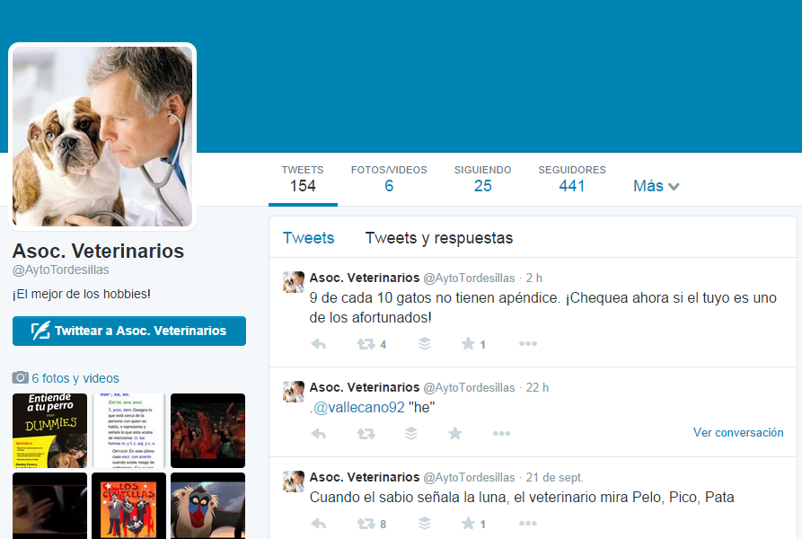 Cuenta fake @AytoTordesillas