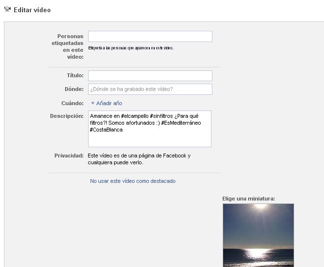Posibilidad editar vídeos Facebook