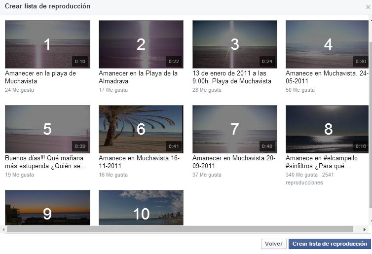 Crear lista reproducción vídeos Facebook