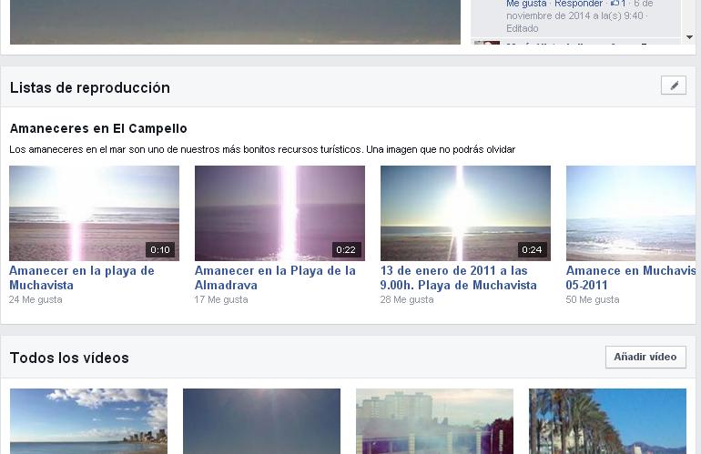 Lista de reproducción vídeos página Facebook
