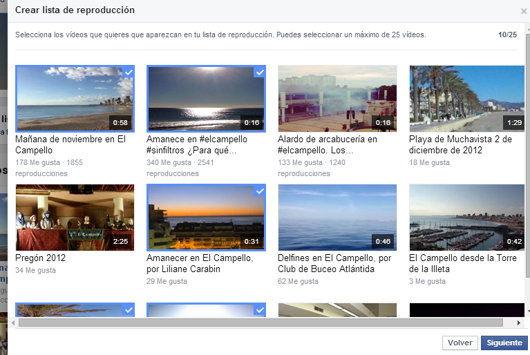 Selección vídeos lista reproducción Facebook