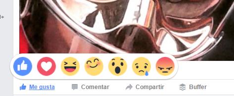Tipos de reacciones en Facebook