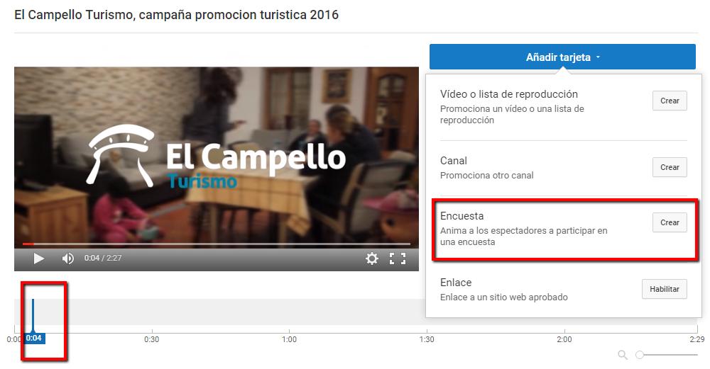 Añadir encuesta vídeo de Youtube