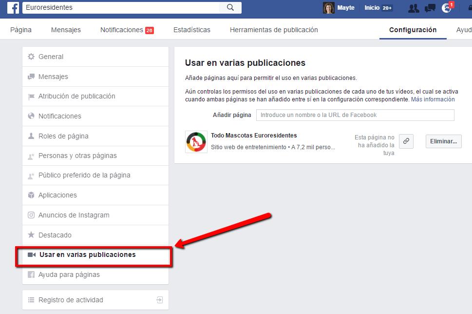 Añadir páginas para compartir publicaciones de vídeo en Facebook