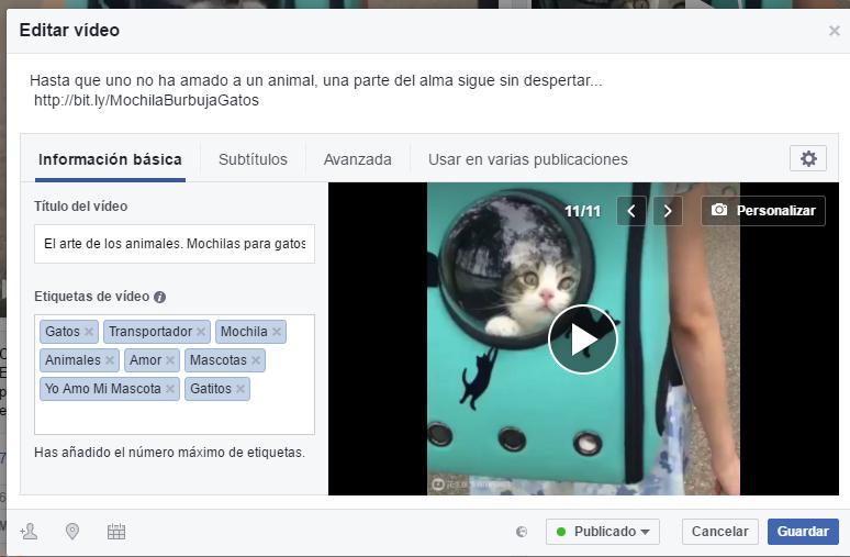 Editar un vídeo en Facebook
