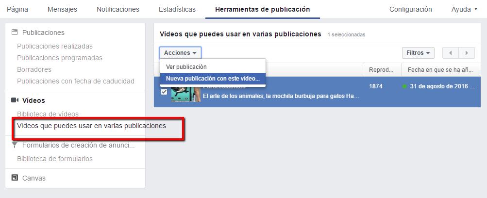 Utilizar vídeos de otra página publicaciones cruzadas Facebook