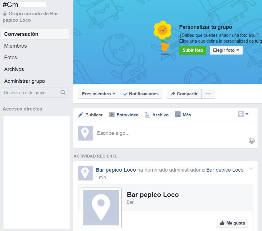 Pagina administrador grupo Facebook