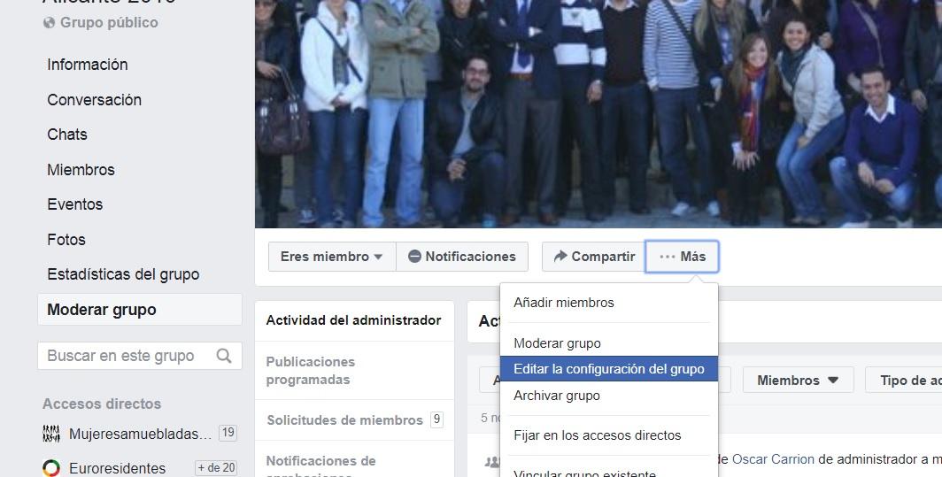 Configurar grupo Facebook