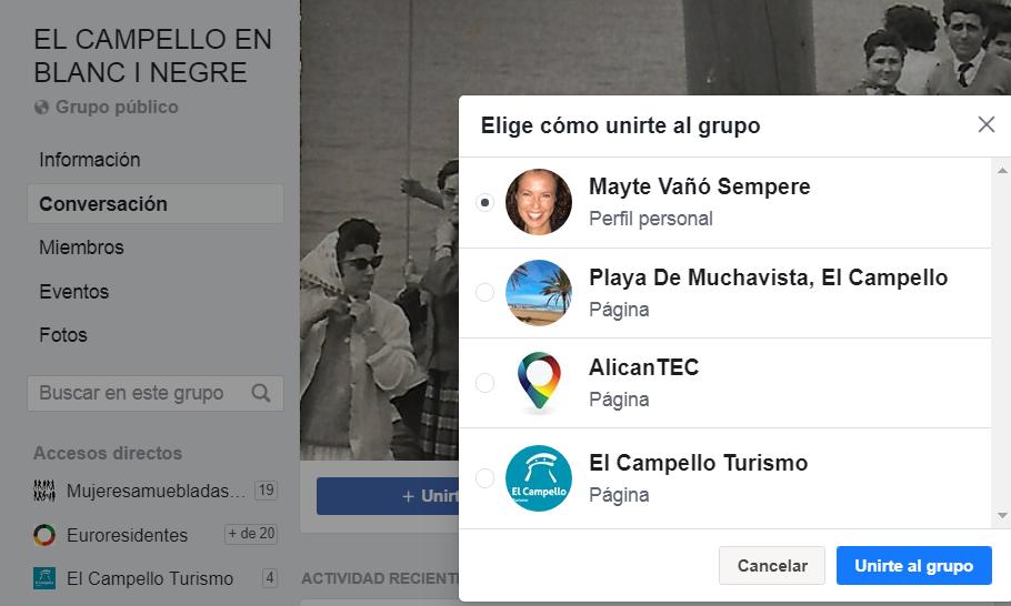 Unir una página a un grupo de Facebook