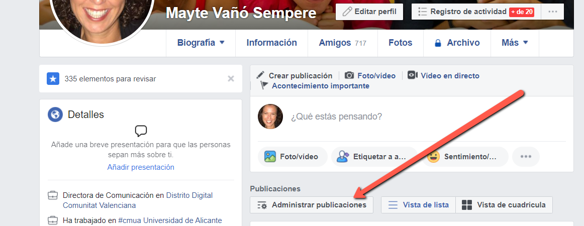 Administrar publicaciones perfil Facebook