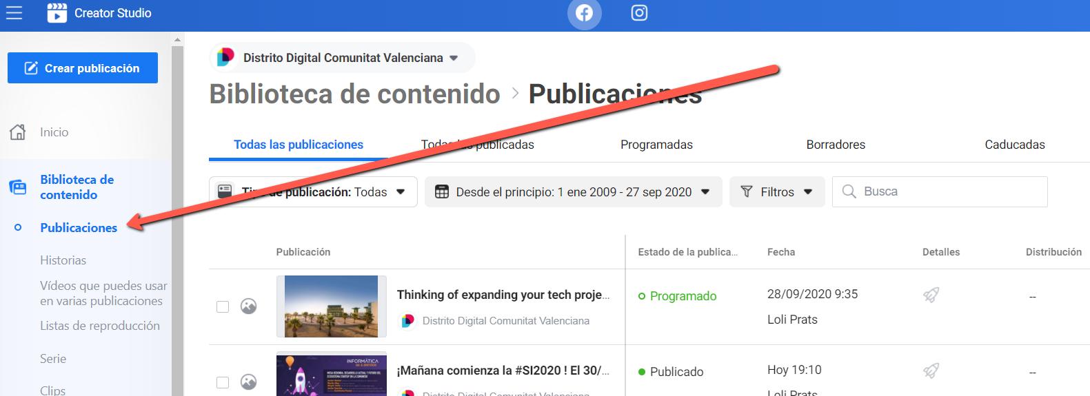 CreatoCreator Studio búsqueda publicaciones por fechar Studio busqueda publicaciones por fecha