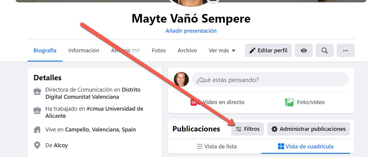 filtros publicaciones perfil Facebook