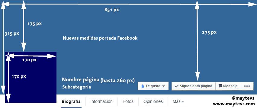 Medidas portada nueva pagina facebook @maytevs
