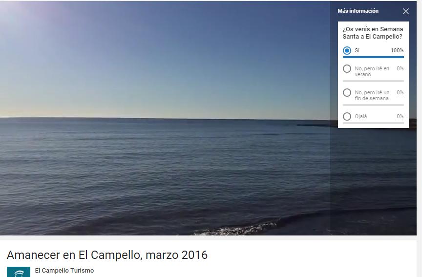 Encuesta Youtuve vídeo El Campello Turismo